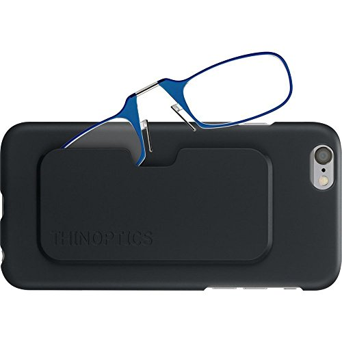 ThinOptics Reading Glasses + iPhone 6 or iPhone 6S Case | Blue Frames, 1.00 Strength