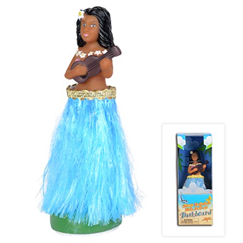 - WEY&FLY Hawaiian Hula Girl with Ukulele, Bobble Head for Cars, Dashboard Bobble Shaker Doll, Collection Figurines Gifts for Decoration Souvenirs (Blue)