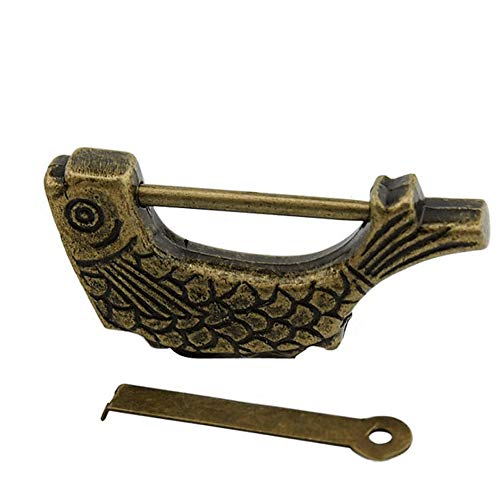 Zwei 59 x 30mm Metal Fish Shaped Antique Bronze Chinese Old Vintage Lock Key
