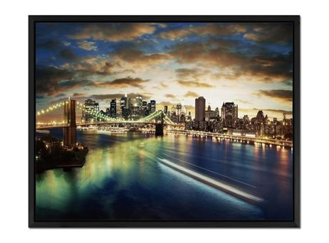 Lighted City. - Art Print Wall Art Canvas stretched With Black