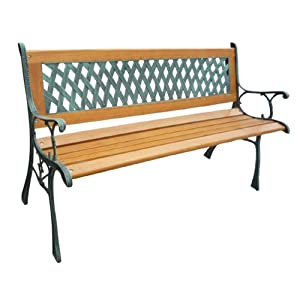 BIRCHTREE 3 Seater Wooden Slat Garden Bench Seat Lattice Style Cast Iron Legs