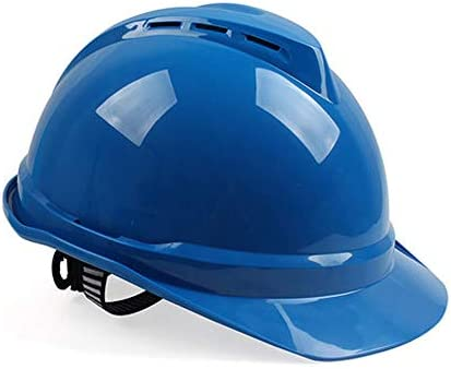 XINGZHE 建設ヘルメットキャップスタイルのハード帽子調整可能なラチェット4 Ptサスペンションハード非換気帽子調節可能なヘルメットPPエンジニアリングヘルメ 安全ヘルメット (Color : Blue)