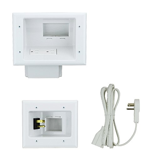 Digital Pass Through Wall Plate (DataComm Electronics 45-0024-WH Recessed Pro-Power Kit with Duplex Receptacle and Straight Blade Inlet)
