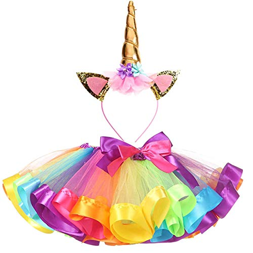 TRADERPLUS Girls Rainbow Tutu Skirt with Unicorn Horn Headband Outfits for Birthday (Rainbow, Medium / 4-6 -