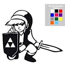 "Link Legend Of Zelda 6"" Black Car Truck Vinyl Decal Art Wall Sticker USA Nintendo Video Games"