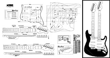 amazon com plan of stratocaster double neck electric guitar plan of stratocaster double neck electric guitar full scale print