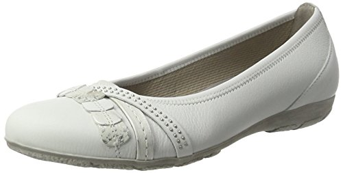 Gabor Shoes Fashion, Bailarinas para Mujer Blanco (weiss/silber/beige 21)
