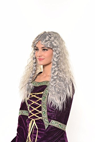 Halloween Cosplay Wizard Warlock Ancient Renaissance Dragon Queen Medieval Lady Silver Mythic Goddess Party Wig H0541 -