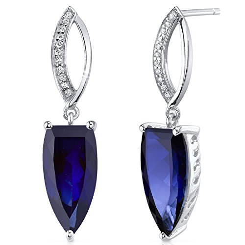 Half Marquise Cut 8.00 Carats Created Blue Sapphire Earrings in Sterling Silver Rhodium Finish by Peora