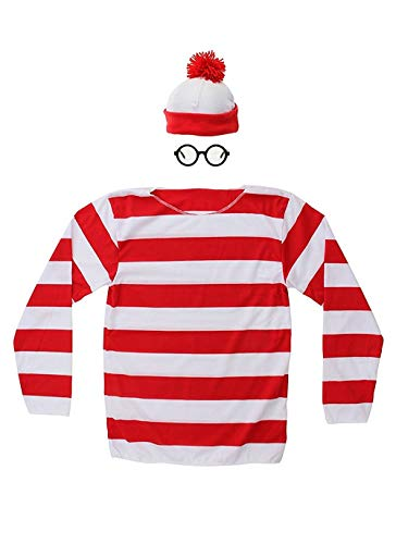 THYLL Cos Halloween Cosplay Shirts, Where's Waldo Costume, Red and White Striped Shirt, Funny Sweatshirt, Glasses Hat Suits ()