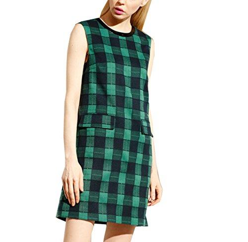 Sueltos Señoras Grandes Bolsillos Tela Escocesa Recta Sin Mangas Chaleco Vestido Green