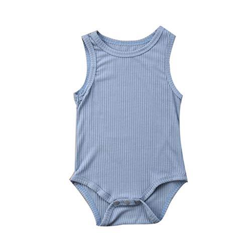 NUWFOR Toddler Baby Kids Girls Boys Sleeveless Tank Rompers Solid Stripe Romper Sunsuit Bodysuit(Blue,6-12 Months) ()