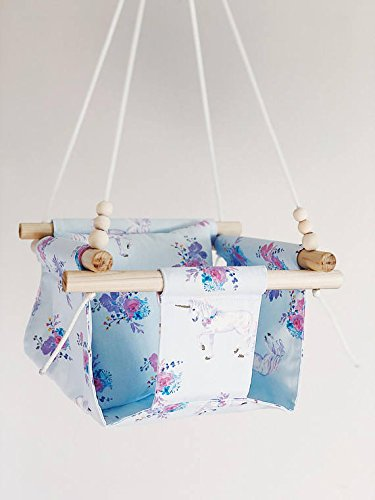 HIGH BACK Indoor/Outdoor Unicorn Fabric Baby Swing