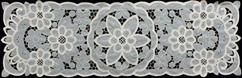 Creative Linens Battenburg Lace with Sheer Sunflower Floral Cutwork Table Runner 15x53 Dresser Scarf Ecru Beige