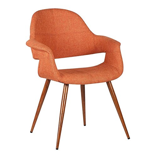 Armen Living LCPHSIWAOR Phoebe Dining Chair in Orange Fabric and Walnut Wood Finish