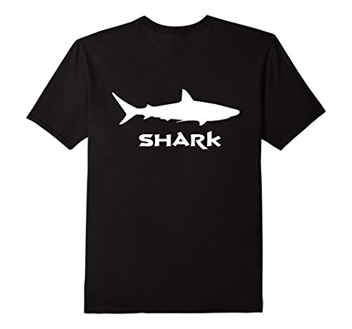 Mens Great White Shark T Shirt Back Print Small Black