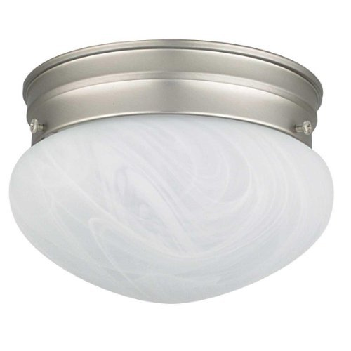 Sunset Lighting F3283-53 Flush Mount with Faux Alabaster Glass, Satin Nickel Finish by Sunset Lighting