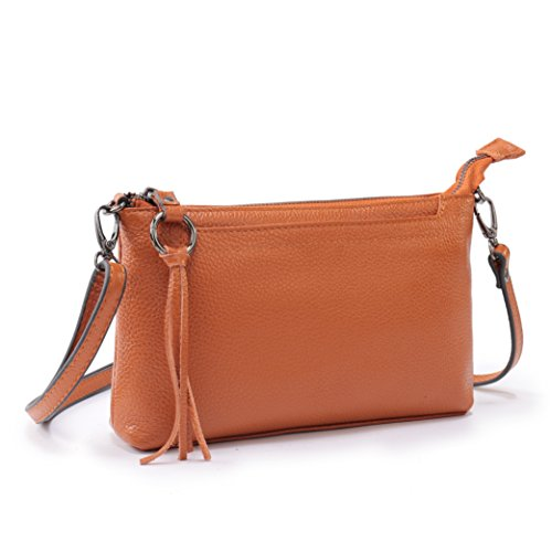 Purse Shoulder Leather Women's Brown Zipper Crossbody Clutch Lanvera Handbag Genuine Bag Wallet X6W8nqWpa