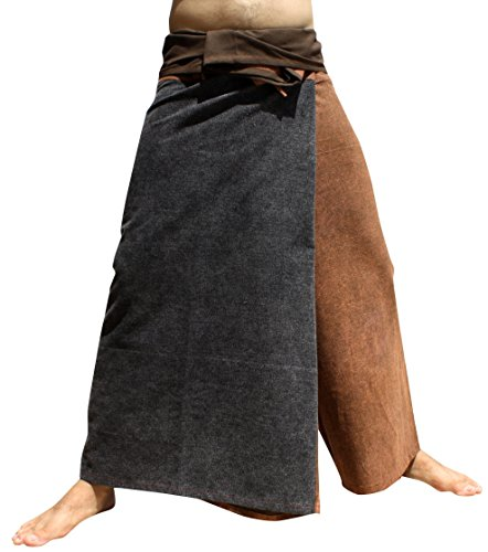 (Raan Pah Muang Medievil Stonewashed Cotton Samurai Wrap Waist Pants, Medium, Brown)