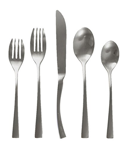 - Knork 260 Curve Collection Flatware Set, Matte Silver