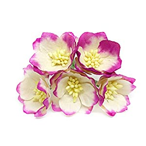 "1.5"" Cherry Blossom Flower Artificial Flowers Paper Flowers Synthetic Flowers Fake Flowers Paper Craft Flowers Mulberry Paper Flowers Wedding, 12 Pieces 7"