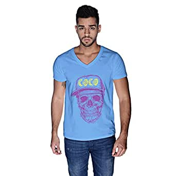 Creo Violet Yellow Coco Skull T-Shirt For Men - M, Blue