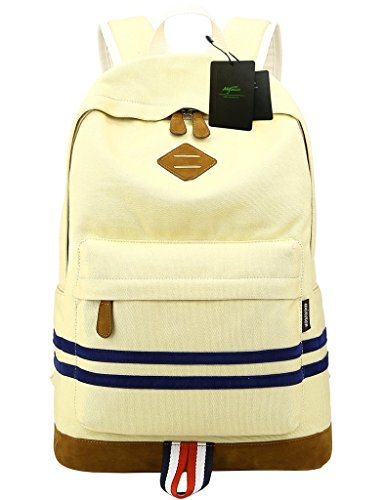 Mygreen Lightweight Canvas Laptop Bag Shoulder Daypack School Backpack Causal Handbag(Light Yellow)