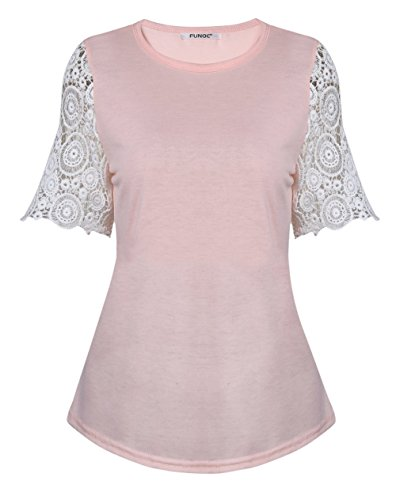 FUNOC Womens Summer Casual Short Sleeve Shirt Tops Blouse Ladies Lace Casual Top Tank