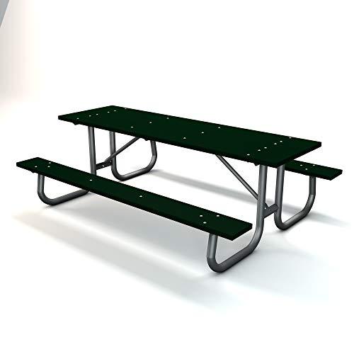 Frog Furnishings Galvanized Frame Picnic Table, 8', Green