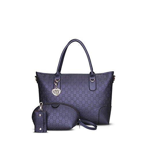 NICOLE&DORIS Elegante Tote Bolsos de Mano para Mujer Monederos Bolso Crossbody Mujer Bolso de Bandolera Bolsa 3PCS Durable Impermeable PU Azul