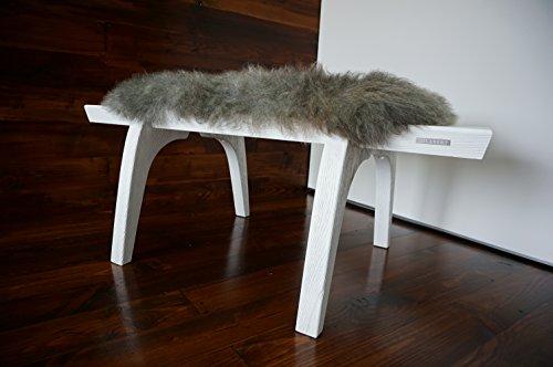 MILABERT Minimalist white Oak wood bench Upholstered curly s