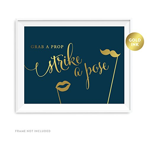 Andaz Press Wedding Party Signs, Navy Blue with Metallic Gold Ink, 8.5x11-inch, Grab a Prop & Strike a Pose Photobooth Sign, 1-Pack
