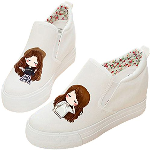 Women's Casual Sneakers On Fashion Heel Hidden Adult SATUKI Pull H Canvas Wedge Shoes BTw55q