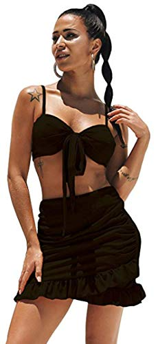 (katiewens Women's Sexy 2 Pieces Set V Neck Strap Bow Tie Crop Top and Bodycon Mini Skirt Ruffles Dress Black)