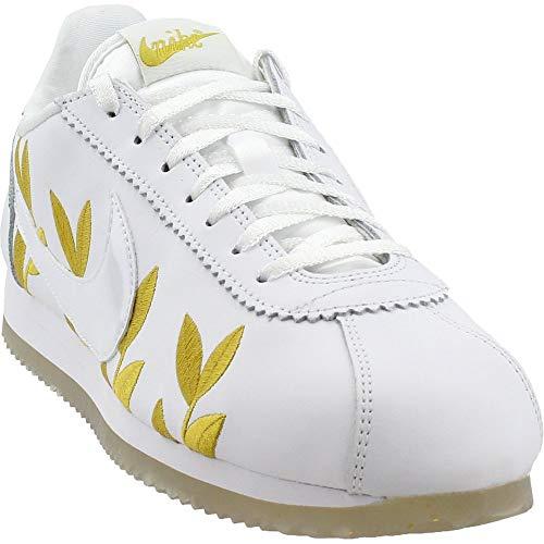 (Nike Women's Classic Cortez White/Metallic Gold Casual Shoe 8.5 Women US)