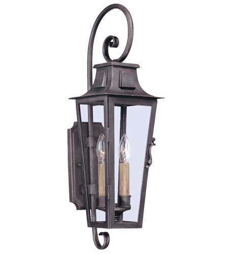 (Troy Lighting French Quarter 2-Light Outdoor Wall Lantern - Aged Pewter Finish with Clear Glass)