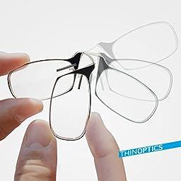 Thin OPTICS Stick Anywhere, Go Everywhere Reading Glasses plus Universal Pod Case, Black Frame, Black Case, 1.50 Strength
