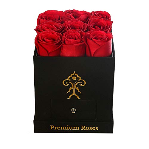 Premium Roses| Real Roses That Last a Year | Fresh Flowers| Roses in a Box (Black Box, Small)