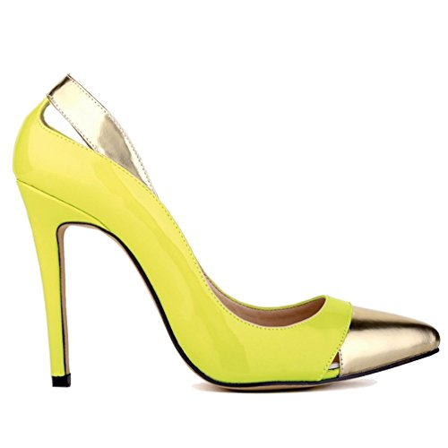 de Combat Xianshu Brevet Talon Haute cuir Vert Femmes Couleur Creux Hollow Chaussures de Fluorescent Couture Mouth Pompes qw0HS
