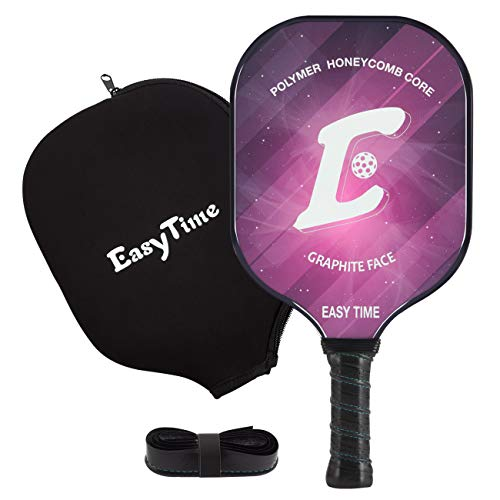 EasyTime Pickleball Paddle Graphite Pickleball Racket with Polypro Honeycomb Composite Core Paddles with Free Grip Strip & Free Racket Cover (101-Rose)