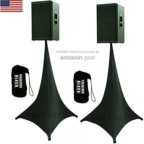 2-Pack Amazin Gear SKRIMS Tripod Speaker Stand Stretch Covers - Triple Sided DJ Scrims - Spandex DJ Skirts 3-Sides - Scrims 360 +2 FREE Travel Bags - BLACK PAIR (Fit 3 Hidden Elastic)