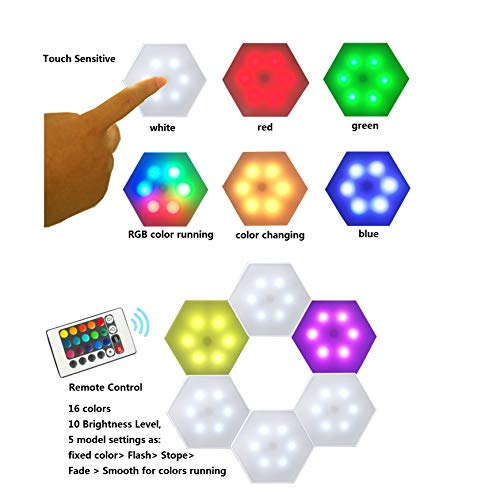 Smart Hexagon LED Lights Remote DIY Geometry Hex Light Touch Sensitive RGB Colorful Wall-Mounted Panels Puck Light for Bedroom Living Room Hallway Party Celebration Decor Night Light (6 Pack)