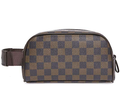 (Miracle Premium Checkered Cosmetic Toiletry Bag | Make Up Travel Bag for Men Women | PU Vegan Leather (Brown))
