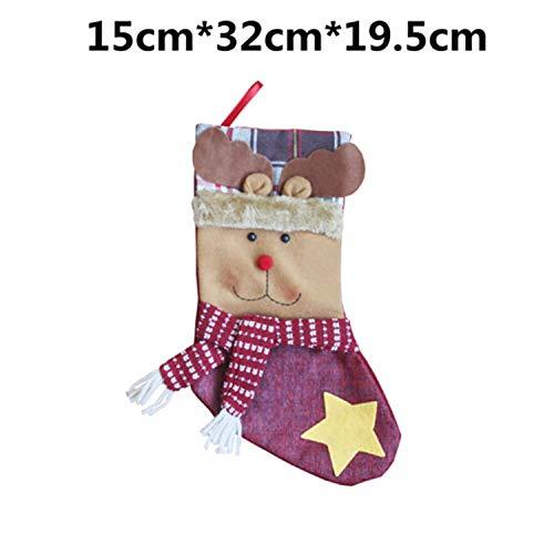 Mydufish Christmas Stocking Plaid Santa Claus Sock Gift Bag Kids Xmas Noel Decoration Ca -