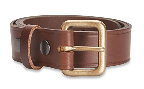 Rounded Square Buckle Belt (Hawkdale Mens Premium Real Leather Belt - 1.25