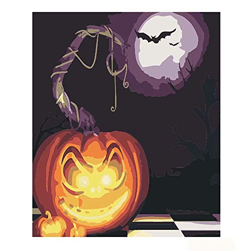 DIY Adult Painting by Numbers for Adults Kits Landscape Paint by Numbers Countryside for Home Decor,Happy Halloween Pumpkin Pattern, 16X20Inches -