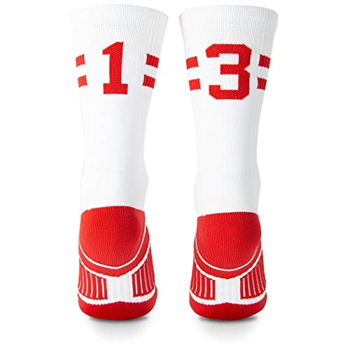 Classic Stripe Team Number Socks | Woven Mid-Calf | White & Red | 13 or 31