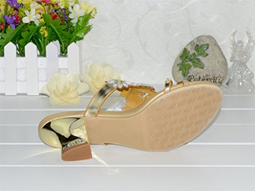 Sandals Gold CRC Party Slippers Prom Wedding Microfiber Womens Rhinestone Floral Unique Sparkle FHrzPFqSw