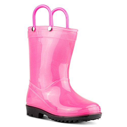 ZOOGS Children's Rain Boots with Handles, Little Kids & Toddlers, Boys & Girls Pink
