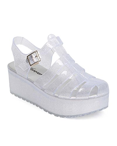 Forever EA83 Women Glitter Jelly Round Toe Flatform Fisherman Sandal - Clear (Size: 7.5) (Flatform Jelly Sandals compare prices)